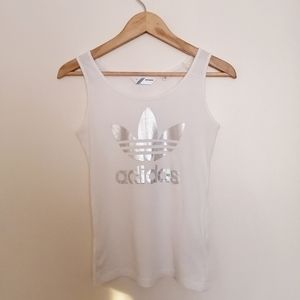 Adidas White Tank Top with Silver Trefoil